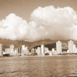 Waikiki Skyline Hawaii sepia - Stock Photo