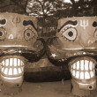 Colorful Ravana head effigies sepia — Photo