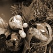 Christmas Decoration Balls sepia — Stock Photo