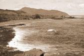 Rocky Makapu'u Beach sepia — Stock Photo