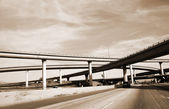 Overpass America Freeway System sepia — Stock Photo