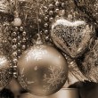Christmas Decoration Blue and Silver Baubles sep - Stock Photo