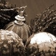 Christmas Decoration Redand Silver Baubles sepia - Stock Photo