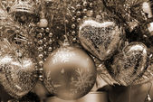 Christmas Decoration Blue and Silver Baubles sep — Stock Photo