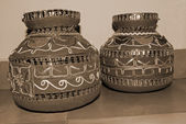 Decorative Earthen Pots sepia — Stock Photo