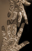 Henna Tattoo on Hands sepia — Stock Photo