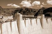 Hoover Dam on Lake Mead,Las Vegas sepia — Stock Photo