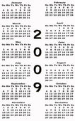 Happy New Year 2009 Calendar sepia — Stock Photo