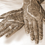Henna Tattoo Design on Hands sepia — Stock Photo