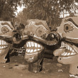 Stock Photo: Ravanhead effigies for Dussehrfestival sepia