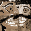 Ravanhead effigies closeup sepia — Stock Photo #1637821