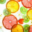 Slices citrus on white background - Foto Stock