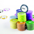 Isolated casino / poker chips - Stockfoto