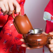 Fragment of tea set - Stock Photo