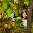Autumn portrait of young pretty woman — Stock Photo