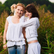 Autumn portrait of mother and daughter — Stock Photo