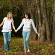 Autumn portrait of mother and daughter — Stock Photo #1319403