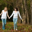 Stock Photo: Autumn portrait of mother and daughter