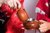 Fragment of tea set — Stock Photo