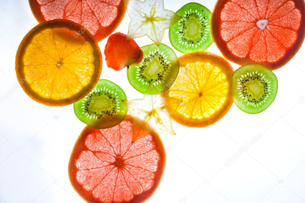 Slices citrus on white background  — Stock Photo #1312157