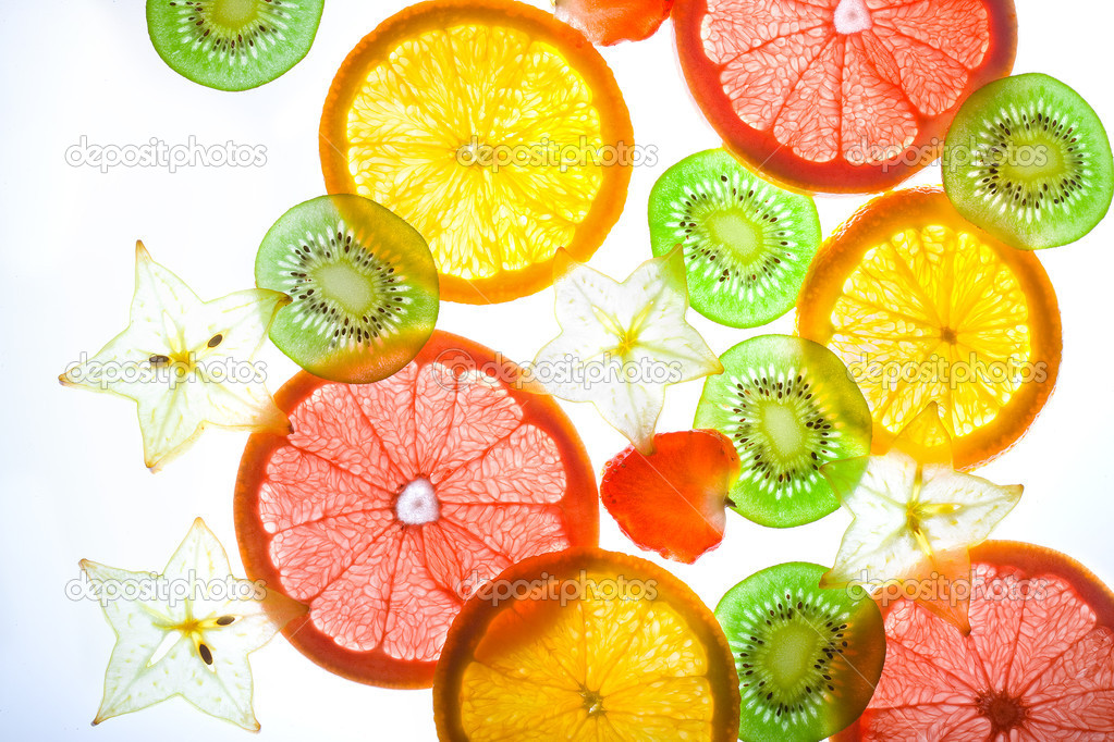 Slices citrus on white background  — Stock Photo #1312159