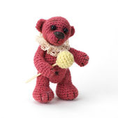 Cute little teddy bear with lolipop — Stock Photo