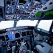Boeing interior, cockpit view - Stock Photo