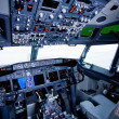 Boeing interior, cockpit view — Stock Photo