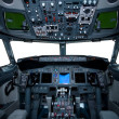Boeing interior, cockpit view - Foto Stock
