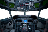 Boeing interior, cockpit view — Fotografia Stock