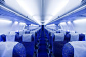 Boeing airplaine interior, out of focus — Foto Stock