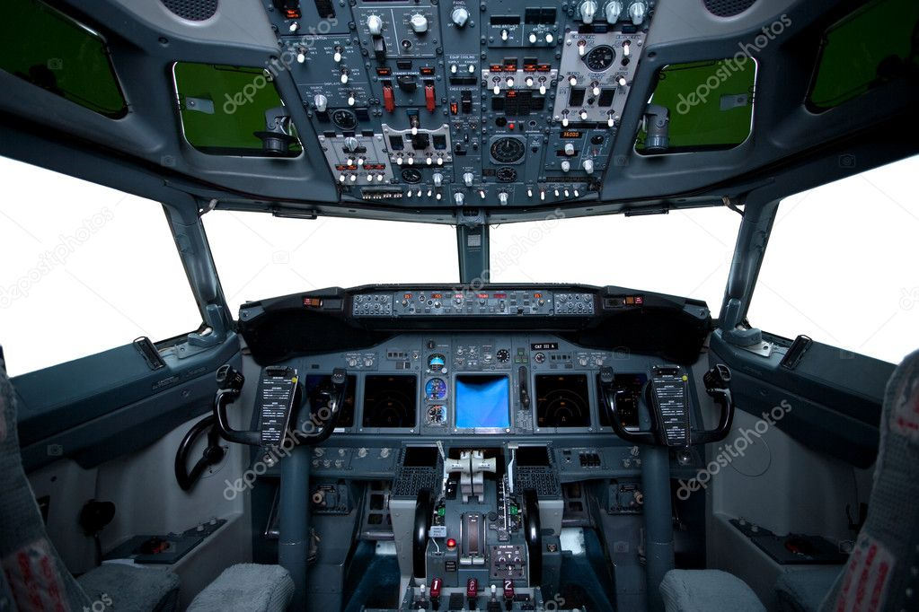 Boeing interior, cockpit view inside the airliner, isolated windows  — Stock Photo #2078960