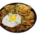 Fried egg on pan — Stock Photo