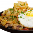 Fried egg on pan — Stockfoto