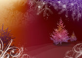 圣诞插画与杉木树 — 图库照片