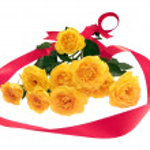 Постер, плакат: Yellow roses with red ribbon