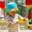 Little boy playing in sandbox — Stock Photo