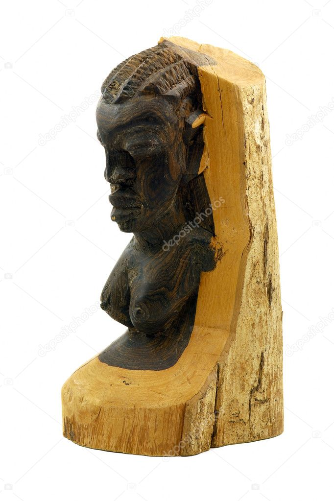 African wooden statue isolated on white — Stock Photo #1292860