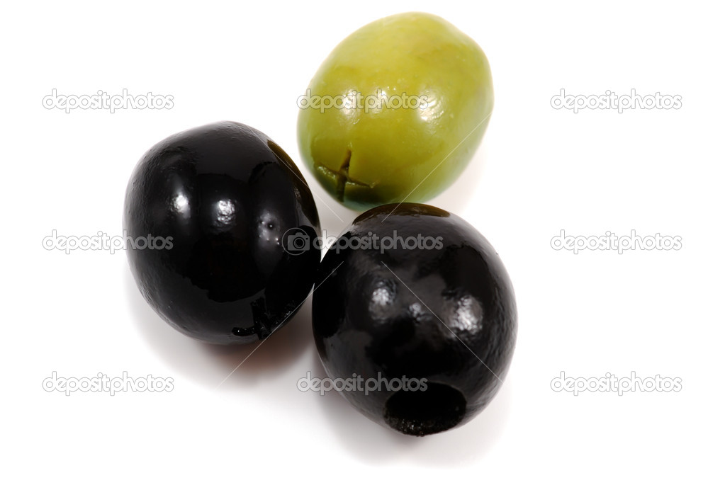 Close-up photo of three olives isolated on white — Stock Photo #1293378