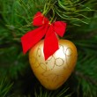 Golden heart on a Christmas tree — Stock Photo