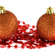 Stock Photo: Two Christmas balls isolated on white
