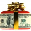 Gift box with 100 dollars banknote — Stock Photo