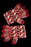 Rukavice zimní červená izolovaných na černém — Stock fotografie