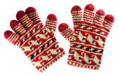 Winter red gloves isolated on white — Stock Photo