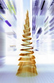Golden xmas tree — Stock Photo