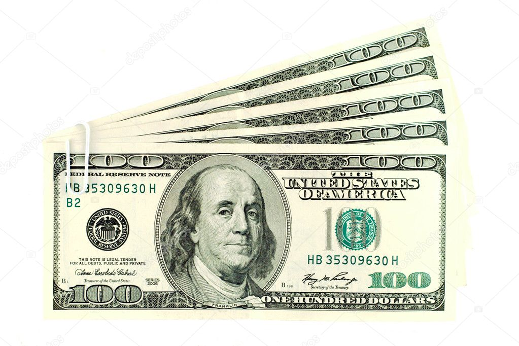 Stack of $100 banknotes isolated on white  Stock Photo #1362588