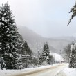 Snowy winter road in the mountains — Stock Photo