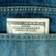 Stock Photo: Blue jeans pocket with $100 banknotes