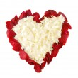 Rose petals in shape of heart on white — Stock Photo