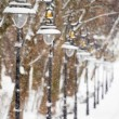 Lanterns in the winter park with snow - Stock Photo